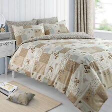 Floral Butterflies Patchwork Natural Duvet Cover Pillowcase Set Poly Cotton