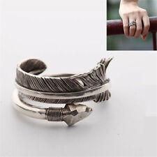 Bohemian Ring Hawk Feather Lucky 925 Silver Arrow Ring Men Women Open Ring Gifts