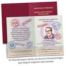 Reisepass Einladungskarten Party Geburtstag personalisiert + Ihr Bild