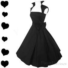 New Black Full Skirt 50s Rockabilly Party Dress S M L XL XXL Bridesmaid Pinup