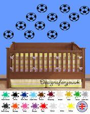 Boys Football Sticker Wall Art / Decals. Childrens Bedroom 12 Balls Vinyl
