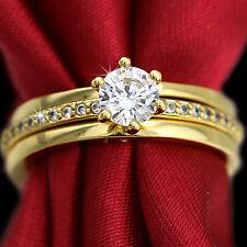 9K GOLD GF 1CT SIMULANT DIAMOND 3WAY ANNVIERSARY WEDDING STACKABLE BAND RING SET