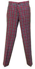RELCO burgundy con motivo tartan slim sta-press MOD / GOLF / rétro pantaloni