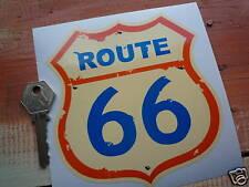 ROUTE 66 Blue/Cream/Orange 5in Shield style car sticker