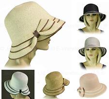 Ladies Women Retro 20s 20's Gatsby Party Bucket Brim Cloche Sun Hat BIG BOW
