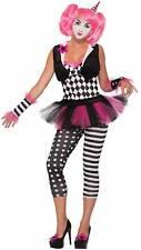 Women's Harlequin Tricksy The Clown Fancy Dress Costume Black White Pink XS-LG