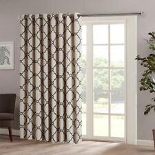 "Luxury Khaki & Black Fretwork Pattern Patio Door Window Curtain Panel - 100x84"""