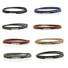 3mm Trenzado Cuero & Plata de Ley bracelet-genuine DOBLE Envolvente Cuero