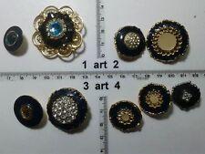 1 lotto bottoni gioiello strass smalti perle blu buttons boutons vintage g12