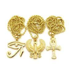 Eye of Heru Horus Bird Ankh Cross Pendant Charm Ball Chain Necklace Jewelry Set