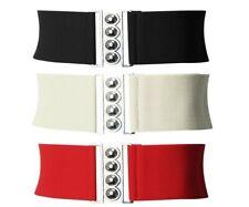 Señoras cintura elástica Hebilla Cinturón-Cierre de Plata estilo corsé de cintura cinturón 50S