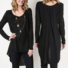 Umgee Top Size S M L Black Long Sleeve Tunic Free Boho People Women Shirt New
