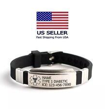 Personalized Emergency Medical Alert Id Bracelet Engraved Steel adjustable bangl