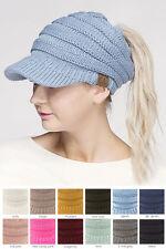 ScarvesMe CC Brim Beanietail Ponytail Messy Bun Solid Ribbed Beanie Hat Sun Cap