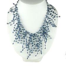 "17"" Unique Crystal Bead Fringe Statement Necklace Bib Jewelry Women Accessories"