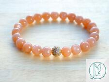 Peach Moonstone Gold Micro Pave Natural Gemstone Bracelet 6-9'' Elasticated