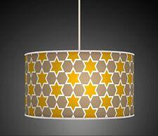 Stars Beige Latte Brown Mustard Handmade Printed Fabric Lampshade 645