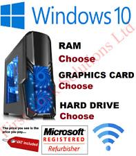 GAMING PC Computer Quad CPU i5 SSD HDD 4-16 GB RAM GT GTX GFX Windows 7 10 Wifi