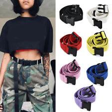 Unisex Women Men Casual Canvas Belt Waist Belts Plastic Buckle Solid Long Belts