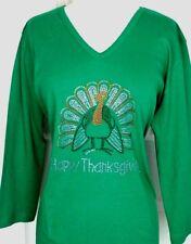 PLUS 3X Top Rhinestone Hand Embellished HAPPY THANKSGIVING TURKEY Design