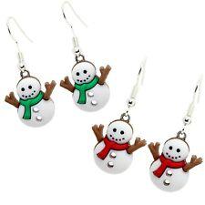 Bluebubble LET IT SNOW Snowman Drop Earrings Funky Festive Christmas Novelty Fun