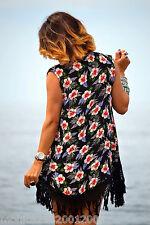 Zara Estampado Floral Kimono Chaqueta Tipo Capa Talla Mediana Ref. 7521 029