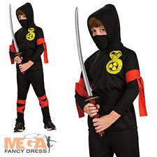 NINJA Boys Arti Marziali FANCY DRESS Kids Nero uniforme + Cappuccio Halloween Costume
