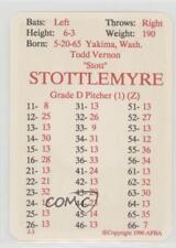 1990 APBA Major League Baseball #TOST Todd Stottlemyre Toronto Blue Jays Card