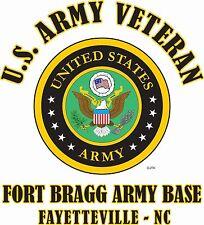 FORT BRAGG ARMY BASE* FAYETTEVILLE-NC*U.S.ARMY VETERAN W/ARMY EMBLEM*SHIRT