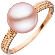 Women's Ring 14 Carat (585) Rose Gold 1 Pink Freshwater Pearls