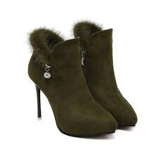 stivali stivaletti bassi  stiletto 10 cm caviglia verde comodi simil pelle 9581