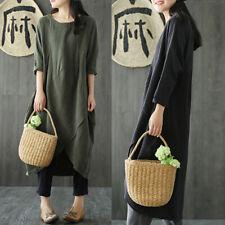 ZANZEA Women Vintage Crewneck Baggy Tunic Shirt Kaftan Long Maxi Dress Plus Size
