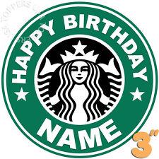 "EDIBLE Starbucks Logo Birthday Party Cake Topper Wafer Paper 3"" (uncut)"
