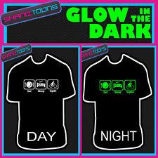 Eat Sleep Cycle Ciclismo Bici Bicicleta de carreras brillan en la oscuridad Impreso Camiseta