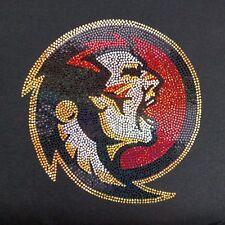 Women's Florida State Seminoles spangle Rhinestone Football V-neck T Shirt Lady