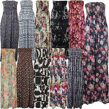 Womens Printed Tropical Multi Floral Plus Size Boob Tube Sheering Maxi Dress