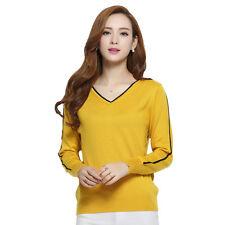 Panreddy Women Cashmere Blended Knitted Long Sleeve V Neck Pullover Sweater