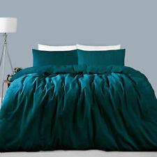 3 Pce 225tc Linen Cotton JADE Quilt Doona Duvet Cover Set QUEEN KING Super King