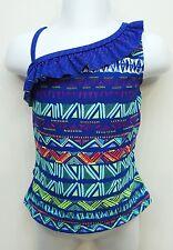 SO Blue Ruffle Tankini Top Swimwear Big Girls Kids S(7/8),XXL(16)
