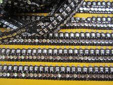 2m /9 Meter spitze PAILLETTEN BORTE Schwarz Silber A 2,cm Nähen mode Elegant