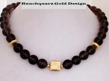 Rauchquarz Halskette Collier braun Gold Kugeln Würfel Magnetverschluß Damen