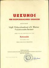DDR-Urkunde-1964-Betrieb Berlstedt-Buttermilch