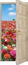 Sticker porte trompe l'oeil déco mural Fleurs réf 841 (3 Tailles au choix)