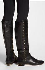 Michael Kors Ailee Black Gold Stud Leather Fashion Knee High Flat Boot 5, 5.5, 6