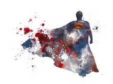 ART PRINT Superman illustration, Superhero, Wall Art, Home Decor, Splatter