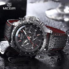 MEGIR  fashion man's quartz wristwatch  waterproof leather watches for men ca...