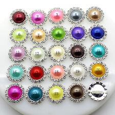 10pcs Flatback Crystal Rhinestone Pearl Wedding Decor Buttons Embellishment 15mm