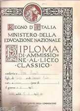 DIPLOMA LICEO CLASSICO SCUOLA ALFIERI TORINO REGNO ITALIA 1939 PAGELLA