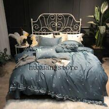 Egypt Cotton Circle Dot Princess Bedding Set Ruffles Silky Duvet Cover Set Sheet