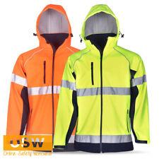 HI VIS DAY/NIGHT SAFETY WARM WIND/RAIN PROOF SOFTSHELL REFLECTIVE WORK JACKET